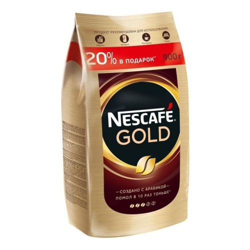 Кофе растворимый Nescafe Gold 900 г пакет